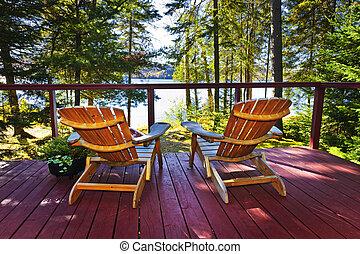 cottage, sedie, foresta, ponte