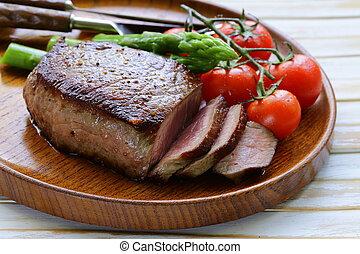 cotto ferri, bistecca, carne, manzo