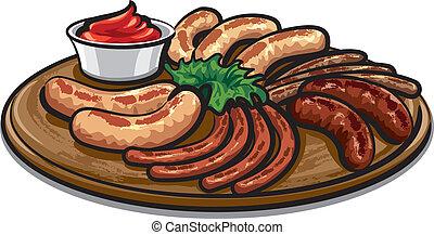 cotto ferri, salsa, salsicce