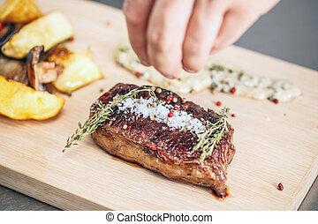 cotto ferri, succoso, bistecca