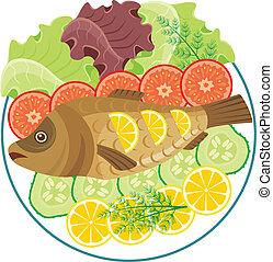 cotto, piatto, pietanza, fish