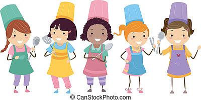 cottura, classe, bambini