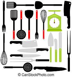 cottura, cottura, coltelli, utensile