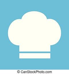 cottura, illustrazione, chef, vettore, fondo, cappello bianco, icona
