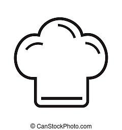 cottura, illustrazione, chef, vettore, fondo, cappello bianco, linea, icona