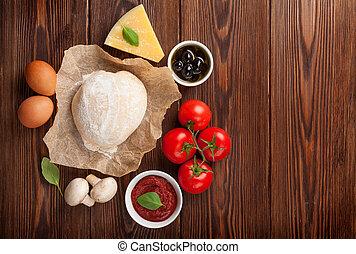 cottura, pizza, ingredienti