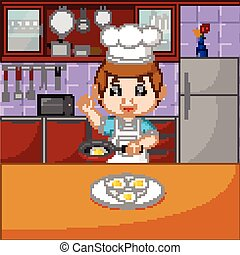 cottura, set, chef