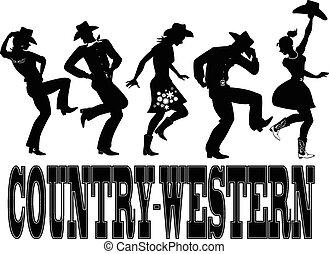 country-western, ballo, silhouette, ba