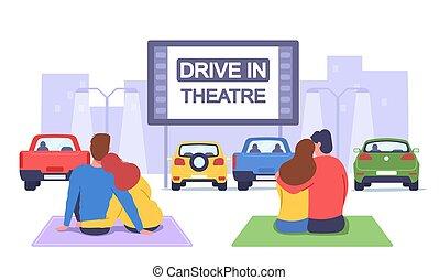 couples, plaid, cinema., drive-in, sedere, automobile, donne, cinema, uomini, datazione, amare, romantico, orologio
