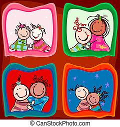 couples, sorridente, bambini