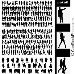 couples, uomini, silhouette, donna, goups