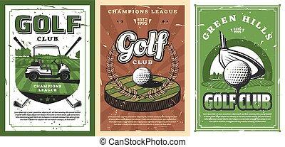 cource, palle, carrello golf, club, campo, verde