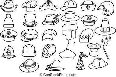 (cowboy, infermiera, differente, chef, polizia, cacciatore, set, mago, pilgrim), linea, tipi, magro, russo, gentiluomo, berretto, baseball, basco, medico, cappelli, safari, icone, ufficiale, inverno, pirata