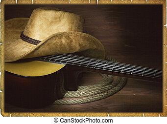 cowboy, paese, chitarra, americano, musica, fondo, vestiti