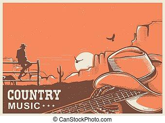 cowboy, paese, chitarra, americano, musica, manifesto, cappello, paesaggio