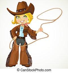 cowgirl, biondo, laccio