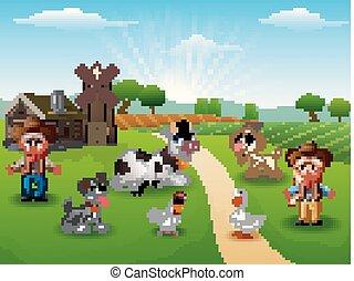 cowgirl, fattoria, mattina, animali, cowboy
