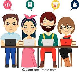 coworking, centro, squadra