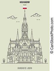 cracovia, chiesa, giuseppe, punto di riferimento, icona, poland., st.