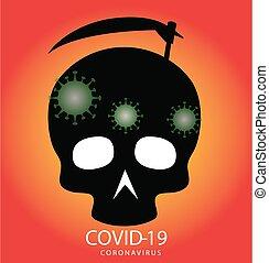 cranio, falce, covid-19, silhouette, morte