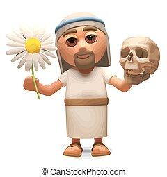 cranio, fiore, morte, cristo, 3d, vita, illustrazione, gesù, contempla