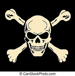 cranio, male, segno, avvertimento, vector., bones.
