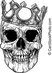 cranio, re, corona reale, scheletro umano