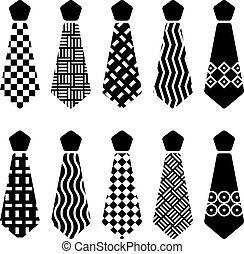 cravatta, silhouette, vettore, nero