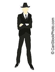 cravatta, uomini, silhouette, completo