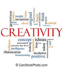 creatività, concetto, parola, nuvola