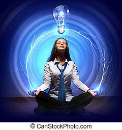 creatività, luce, cocept, bulbo
