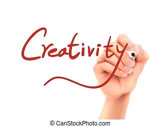 creatività, parola scritta, mano