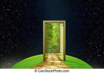 creatività, porta, aperto, terra, immaginazione