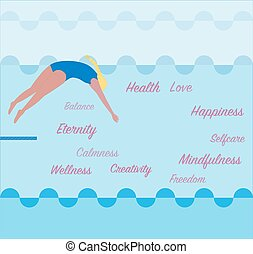 creatività, salti, trampolino, calma, ragazza, stagno, .vector, libertà, amore, salute, donna, water., mindfulness, concetto, illustrazione, equilibrio