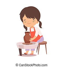 creativo, carino, hobby, attività, cartone animato, vaso, fabbricazione, ragazza, illustrazione, o, bambini, argilla, vettore