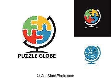 creativo, globo, simbolo, emblema, icona, concetto, sagoma, logotipo, disegno, puzzle, vettore