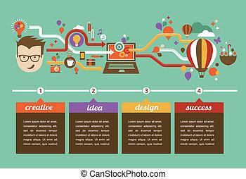 creativo, infographic, disegno, idea, innovazione