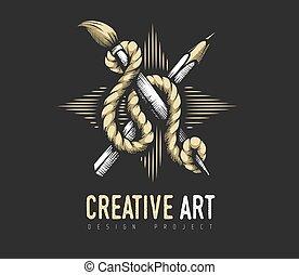 creativo, rope., emblema, araldico, matita, concept., spazzola, arte