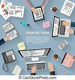 creativo, squadra, concetto