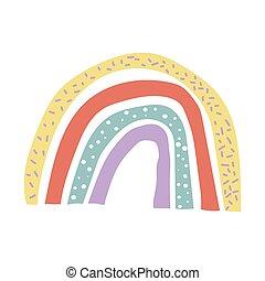 creativo, stile, illustrazione, decorazione, scandinavo, fondo., rainbow., abbigliamento, vettore, hygge, bianco, isolato, infantile, stampa, manifesto, vivaio