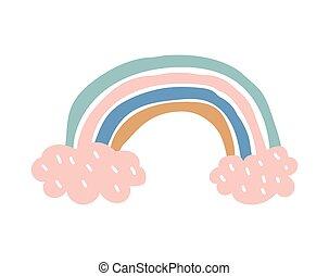 creativo, stile, illustrazione, scandinavo, fondo., abbigliamento, arcobaleno, bianco, decoration., infantile, isolato, vettore, stampa, manifesto, vivaio