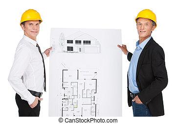 creato, sviluppato, lavorante, luogo, illustrazione, due, orlder, plan., esposizione, ingegneri