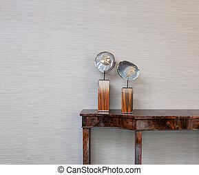 credenza, parete, oggetto, grigio, fronte, gemma