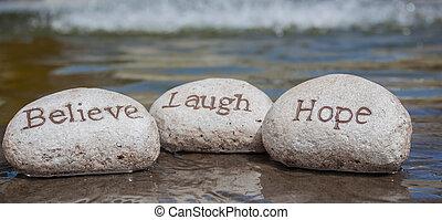 credere, risata, stones., speranza
