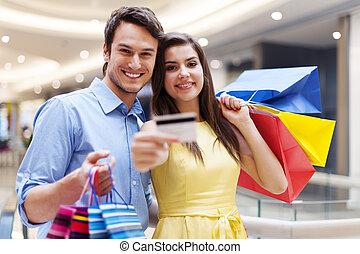 credito, coppia, shopping, scheda, centro commerciale, esposizione, bello