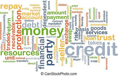 credito, wordcloud, concetto, illustrazione
