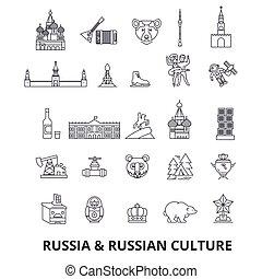 cremlino, strokes., viste, matryoshka, disegno, segni, russia, petersburg, concept., bandiera, urss, isolato, appartamento, lineare, simbolo, editable, illustrazione, mosca, icons., russo, linea, mappa, st, vettore