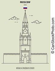 cremlino, torre, punto di riferimento, russia., icona, mosca, spasskaya