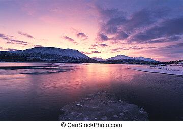 crepuscolo, guado, colori, sopra, beautifully, norvegia