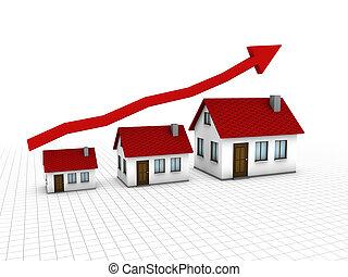 crescente, alloggio, mercato